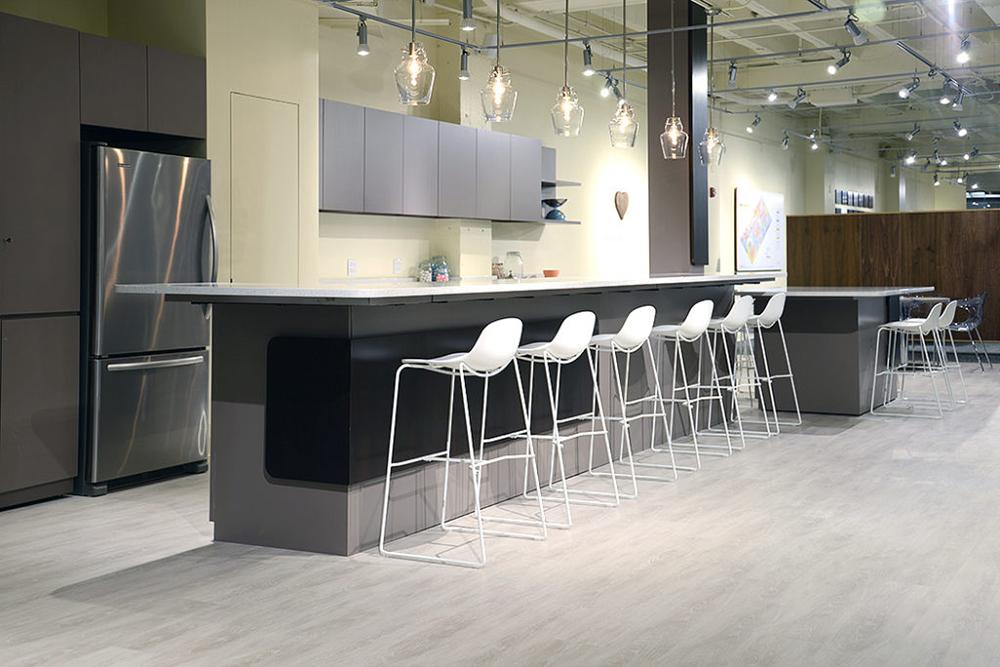 White plastic bar stool