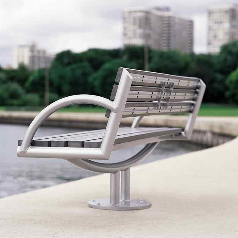 Silver and wood bench