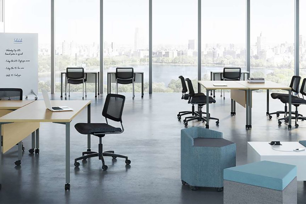 Training room with black chairs