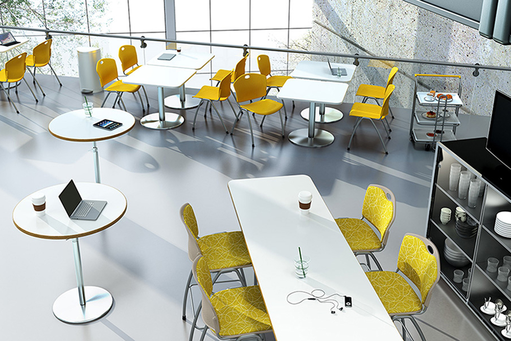 Yellow plastic and fabric chairs