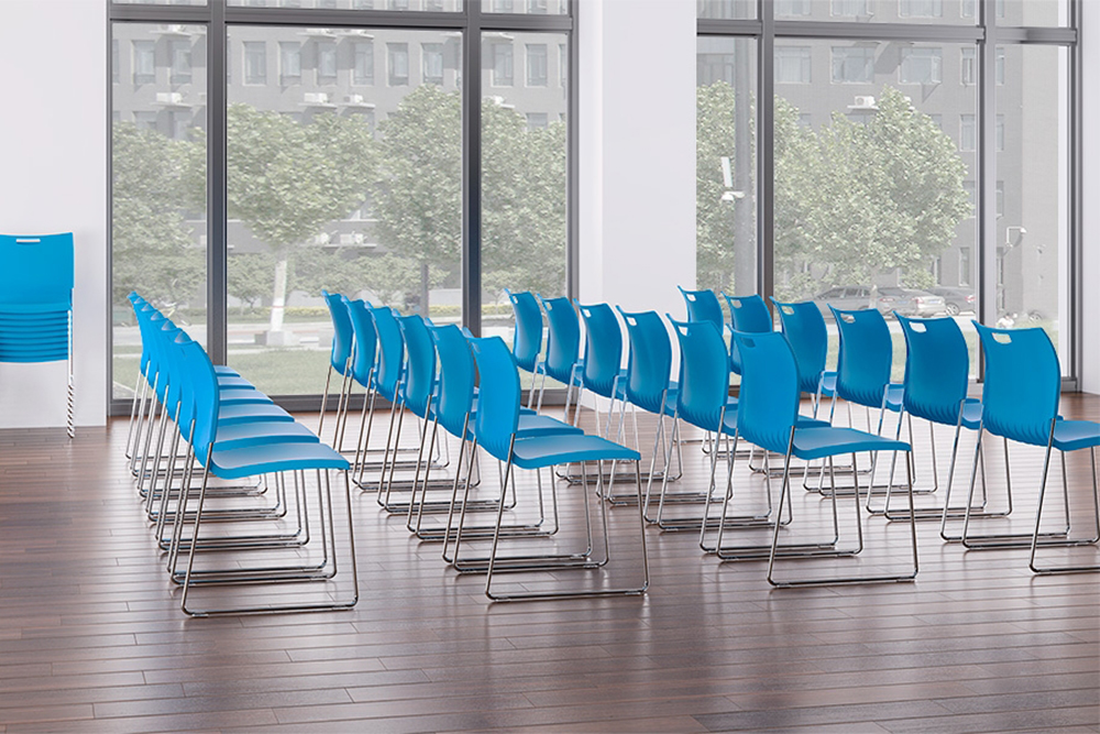 Blue plastic sled base chair