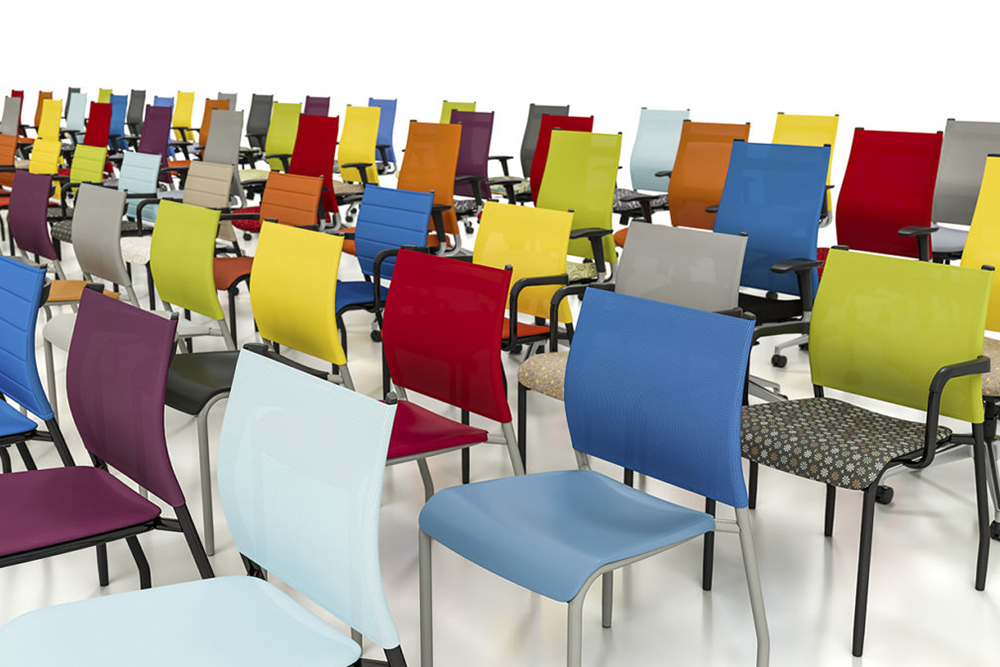 Colorful plastic and mesh chair