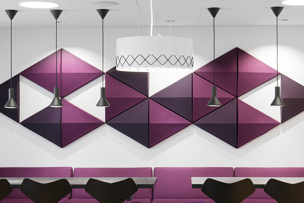 Acoustic tiles over dining area