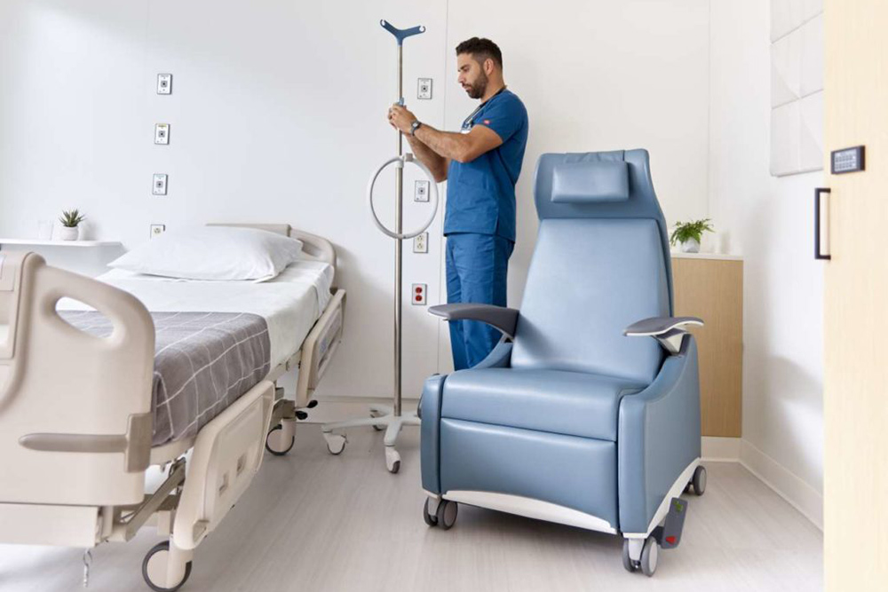 Hospital chair in blue