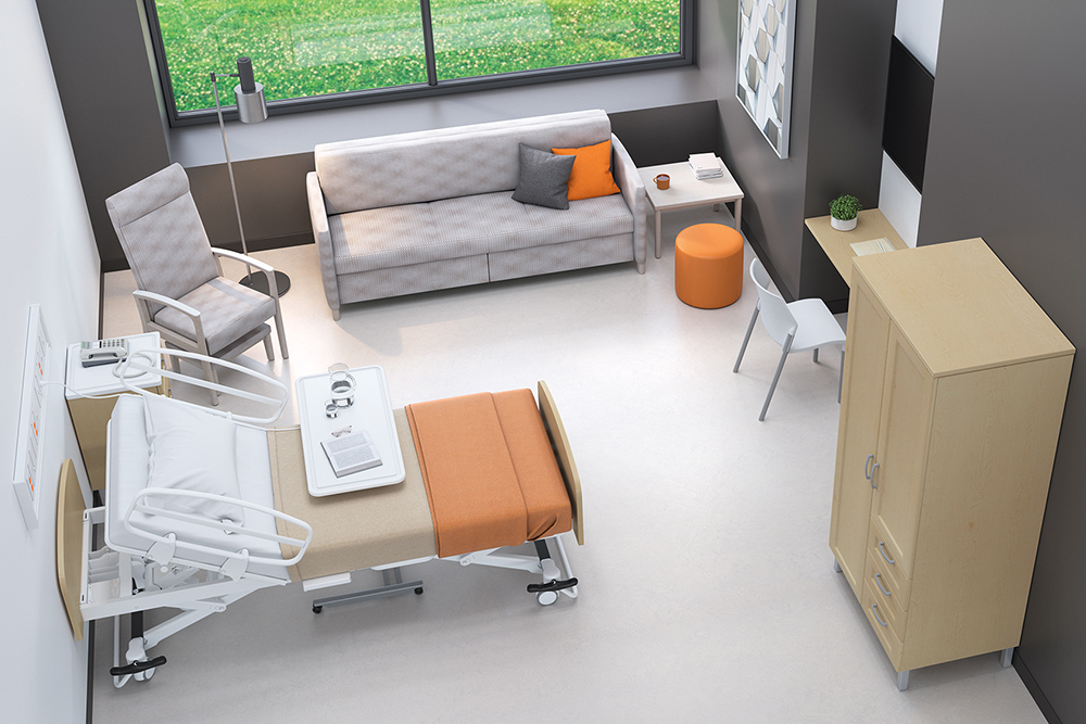 Modern hospital room furniture with plant
