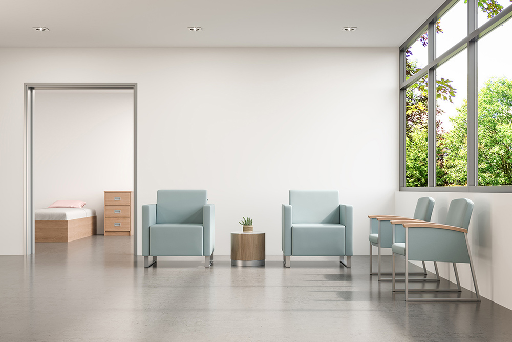 Behavioral chairs with wood arms