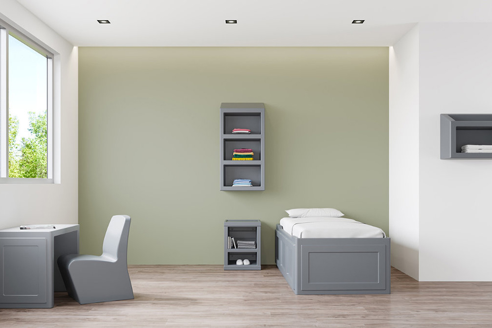 Gray behavioral health room desk and chair