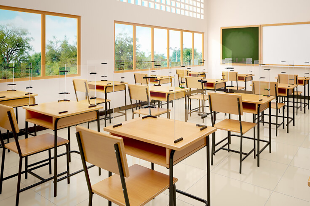 Wood chairs and tables in a classroom