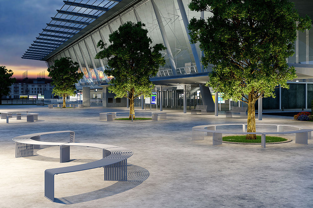 Curved outdoor benches in office complex