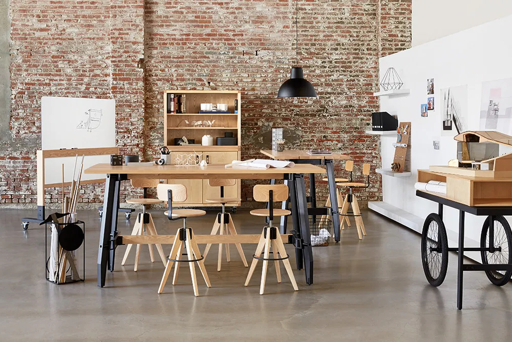 Work table and stools