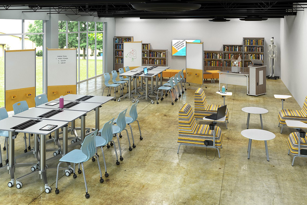 Library furniture for a school