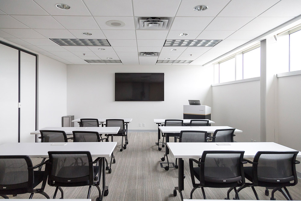 Chairs and tables in training room