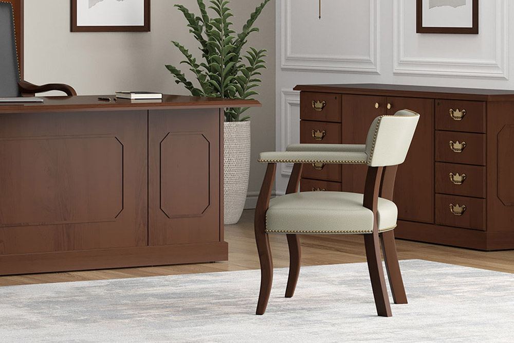 Traditional wood office chair and desk