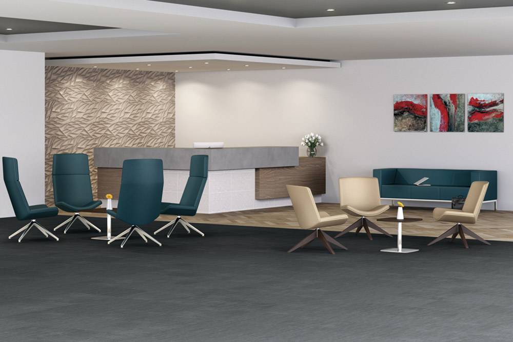 Swivel chairs around tables in office lobby
