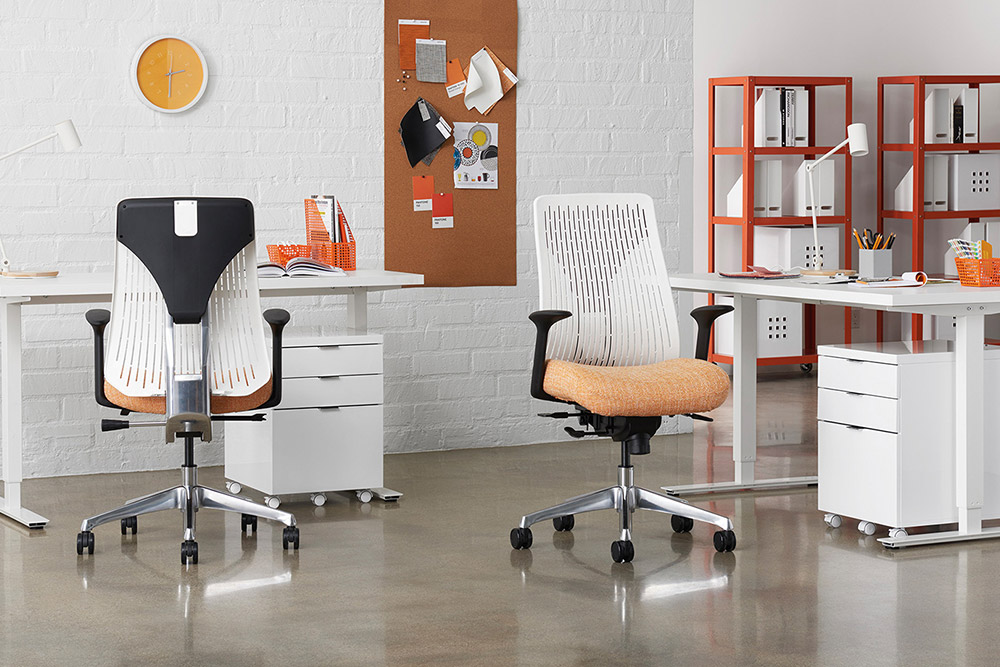 Task chairs with height adjustable tables