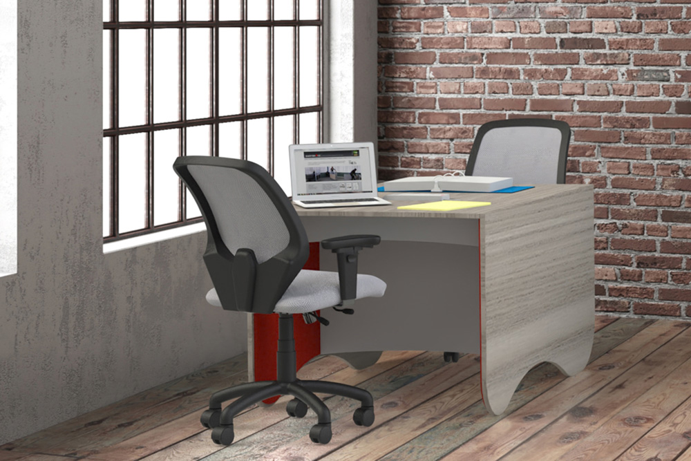 desk with task chairs