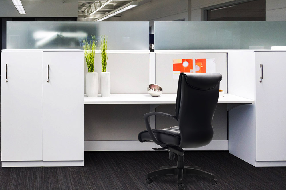 Task chair at desk in office environment