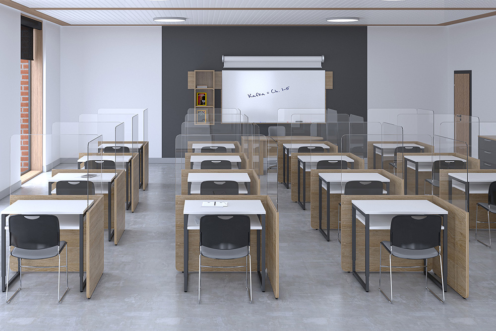 Classroom with protective screens on desks