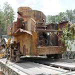 Recovered WWII tank on flatbed