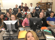 Entrepreneur class Selfie of the Keychains Against Cancer team.