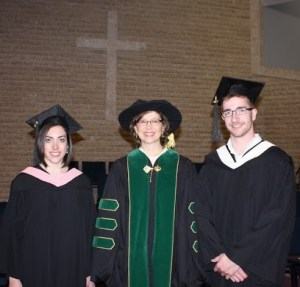 President's medal recipients Nicole Richard and David Thiessen with president Cheryl Pauls