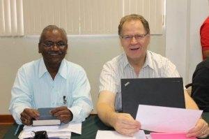 India representative E.T. David and MB Mission representative Vic Martens.