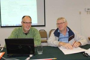 ICOMB executive director David Wiebe and ICOMB chairman and Vereinigung der Mennoniten Brüder Gemeinden Paraguays representative Rudi Plett.