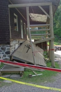 Collapsed balcony of the auberge (lodge) at Camp Peniel. PHOTO: Esther Lachance