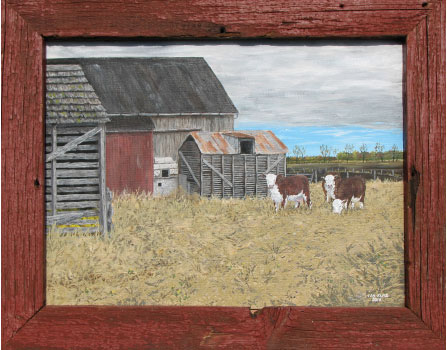 """Grandpa's Cattle"" by Ian Kutz. 16 x 20. Acrylic on canvas. The frame is made from reclaimed wood from an old barn door."