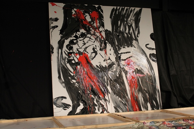 Artist Shawn Reimer created this painting during the Friday evening session.