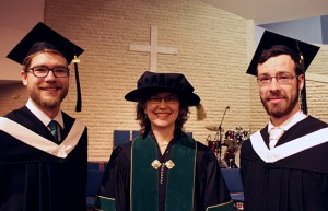 President Cheryl Pauls with President's Medal winners Scott Sawatzky (l) and Justin Rempel (r).