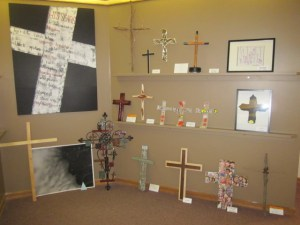 Steinbach MB Church's Respond & Reflect corner was full of crosses during the Easter sermon series.