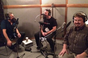 (l-r) Steve Bell, Kyle Rudge and Andrew Wall record audio commentary for the DVD.