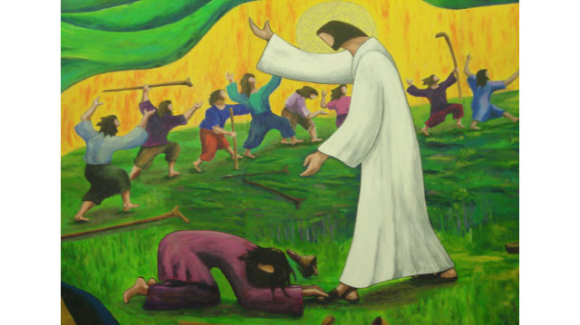 Jesus Heals the Ten Lepers (Luke 17:11–19) source unknown
