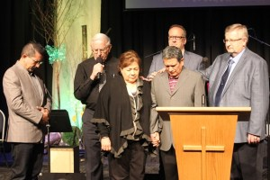Commissioning prayer at King Road MB Church for the ministry of Ruben Zuniga and his wife Celia.