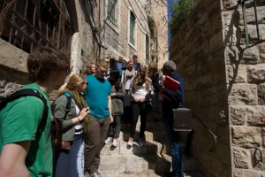 MBCI students on tour to the Holy Land listen to their guide recount history in Jerusalem.