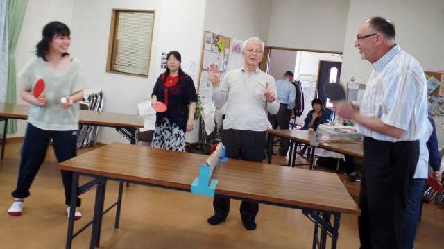 After the Sunday service and a lunch, Hoshida Chapel transforms into a ping pong tournament hall. Photo: courtesy David Wiebe