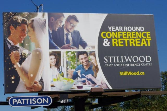 BCMB's Stillwood Camp and Convention Centre tried an experiment in 2015. They purchased space on two billboards on the Fraser Valley's busy Trans Canada Highway (between Abbotsford and Chilliwack). Camp board chair John Redekop says the season-end picture is good. The Stillwood office fielded many inquiries about camping (as featured on one billboard) and conference facilities (on the other). Redekop believes Stillwood is the first Christian camp to do billboard advertising in BC.