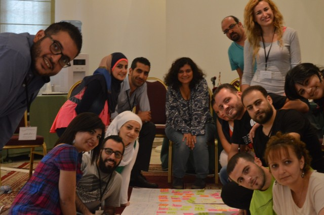 CAPTION FOR THE MEDIA: These Syrian young adults, whose names are not used for security reasons, participated in an MCC-sponsored workshop, Religious Freedom in Situations of Conflict. Using what they learned at this workshop, participants returned to their communities to promote religious dialogue and peacebuilding, hoping to dampen the extremism and sectarianism that has been fostered by the war. (Photo courtesy of Forum for Development Culture and Dialogue)