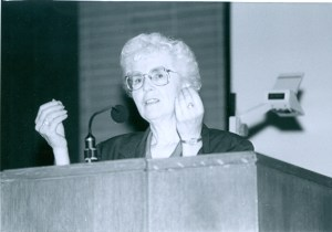 Katie Funk Wiebe speaks at a General MB Conference convention in Winnipeg 1990. MAID photoNP149-1-8662