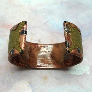 bracelet- manchette -cuir -cuivre -argent