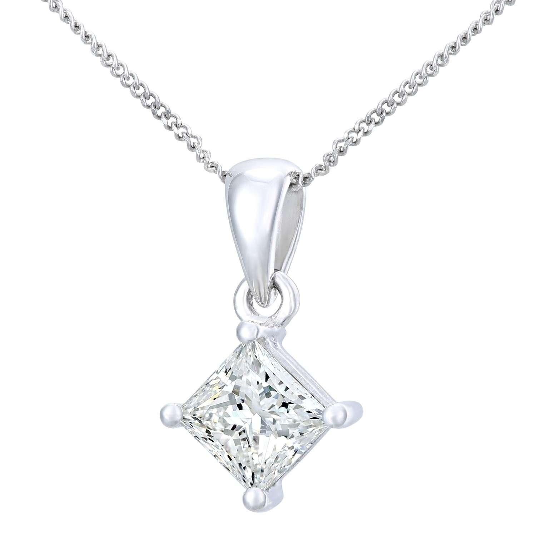18CT WHITE GOLD 1.00CT DIAMOND PRINCESS CUT PENDANT