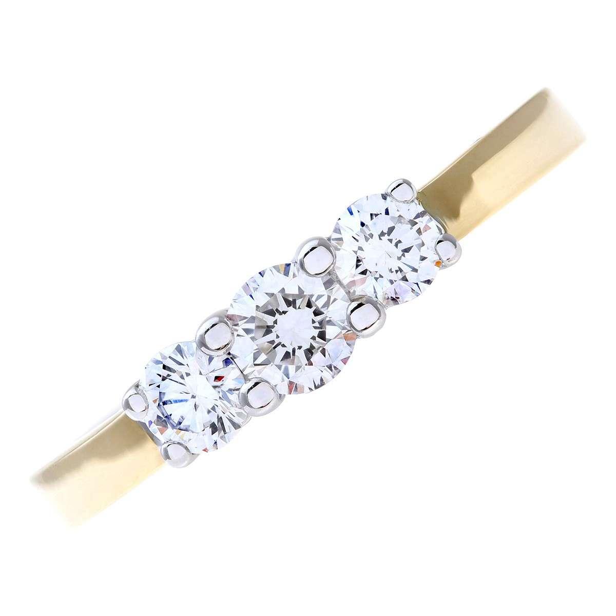 18CT YELLOW GOLD 0.50CT DIAMOND 3 STONE RING
