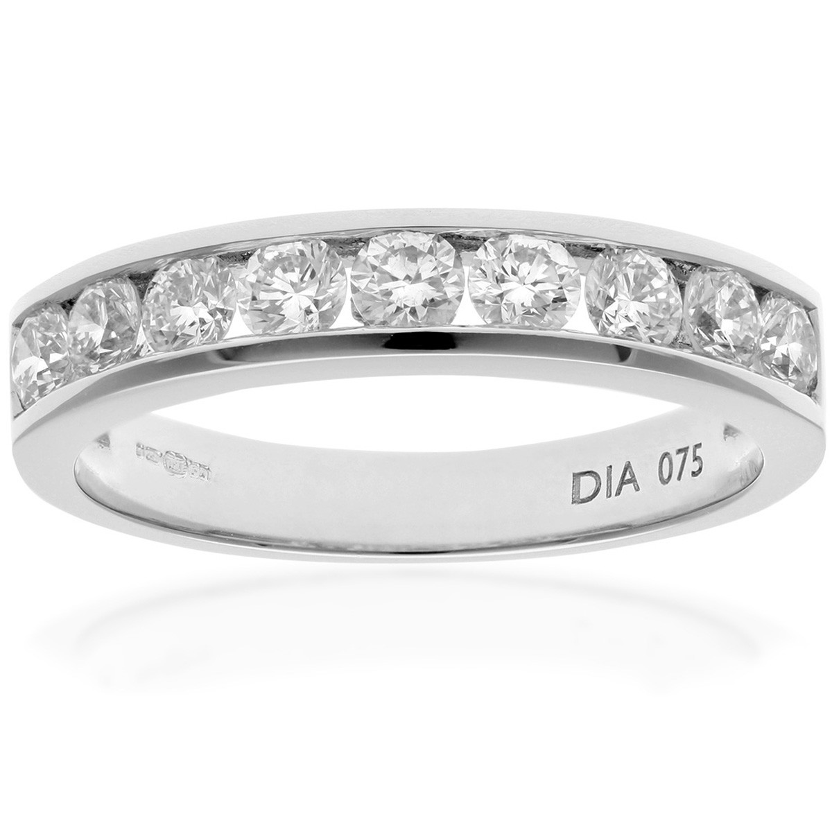 18CT WHITE GOLD 0.75CT DIAMOND 9 STONE CHANNEL SET 1/2 ETERNITY RING