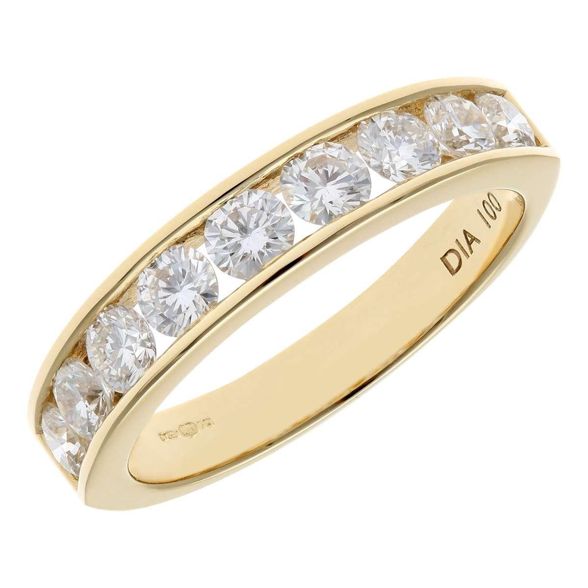 18CT YELLOW GOLD 1.00CT DIAMOND 9 STONE CHANNEL SET 1/2 ETERNITY RING