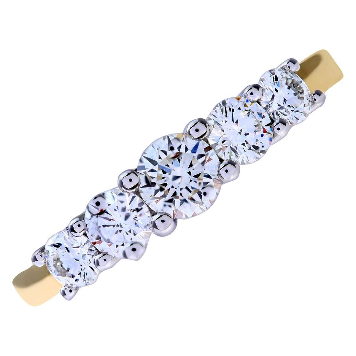 18CT YELLOW GOLD 0.75CT DIAMOND 5 STONE GRADUATE ETERNITY RING