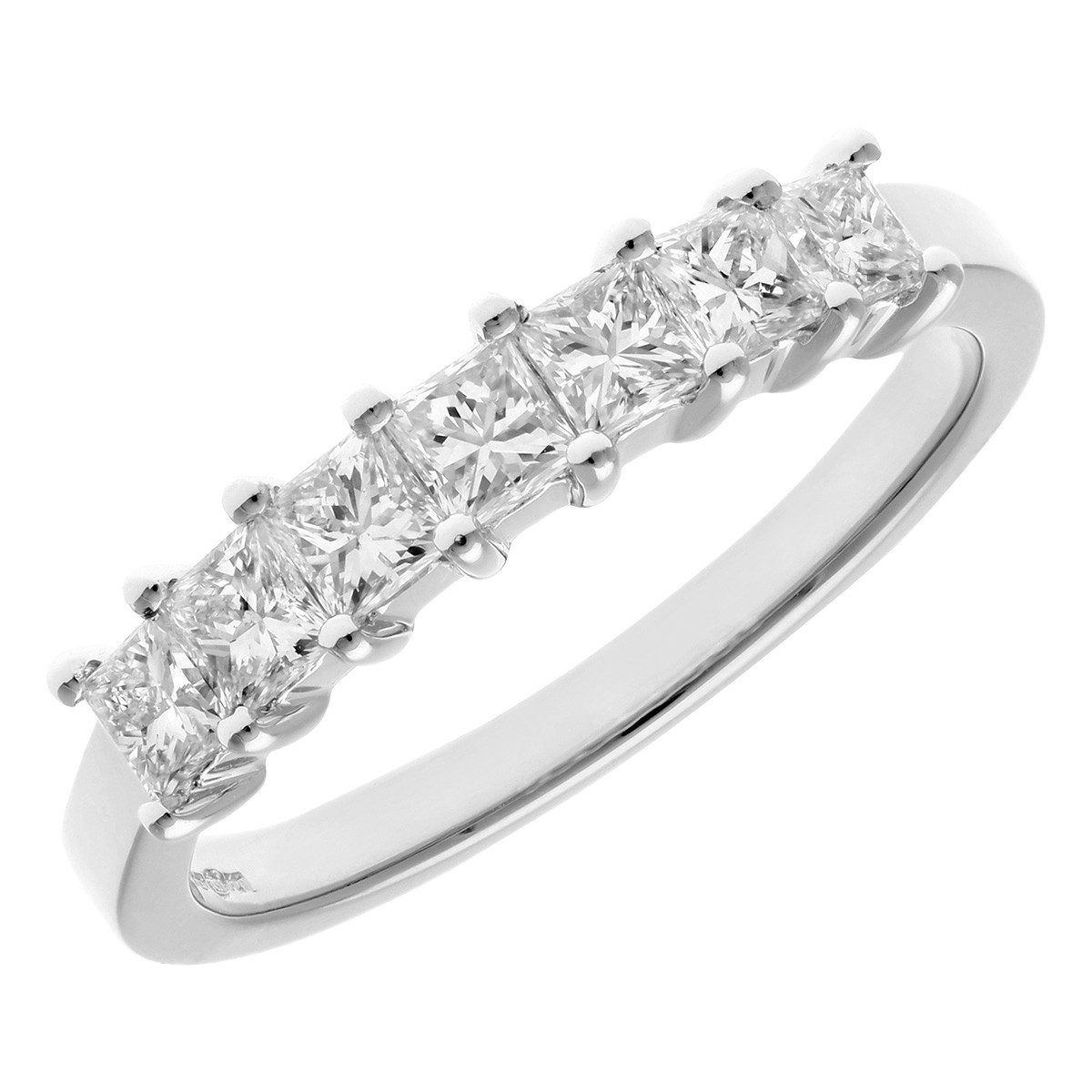 18CT WHITE GOLD 0.75CT DIAMOND PRINCESS CUT 7 STONE 1/2 ETERNITY RING