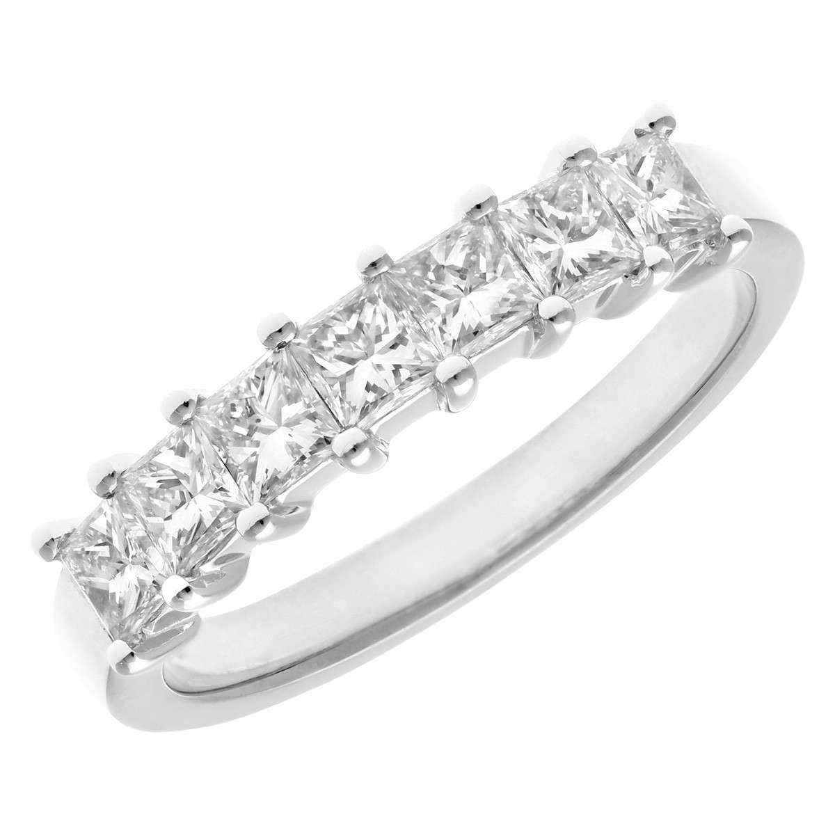 18CT WHITE GOLD 1.00CT DIAMOND PRINCESS CUT 7 STONE 1/2 ETERNITY RING
