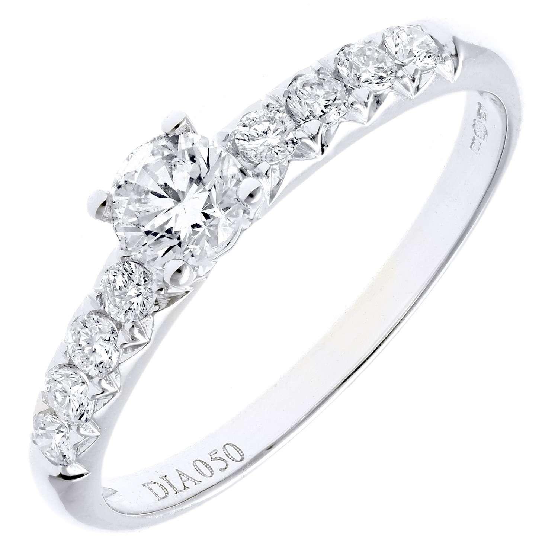 18CT WHITE GOLD 0.50CT DIAMOND ENGAGEMENT SHOULDER RING