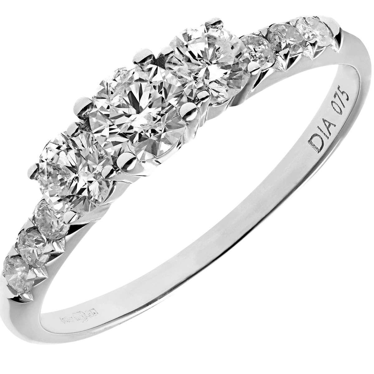 18CT WHITE GOLD 0.75CT DIAMOND ENGAGEMENT SHOULDER RING